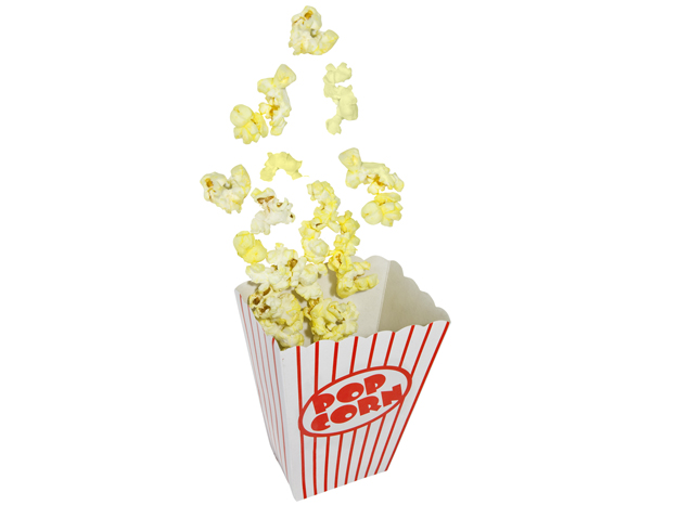 Popping Popcorn box isolated on white.